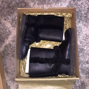 Authentic Short Black, Leather UGG Boots